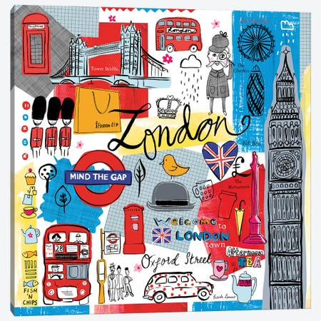 Global Travel III Canvas Print #FZA80} by Farida Zaman Art Print