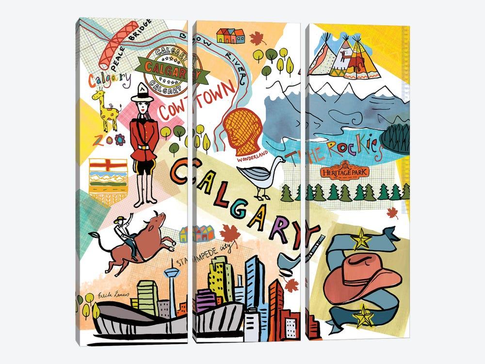 Global Travel XII by Farida Zaman 3-piece Canvas Print