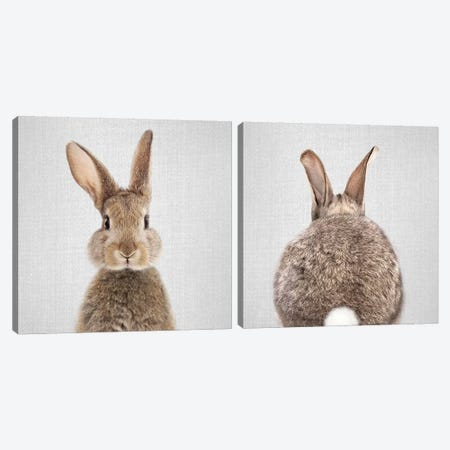 Rabbit Diptych Canvas Print Set #GAD2HSET002} by Gal Design Canvas Wall Art