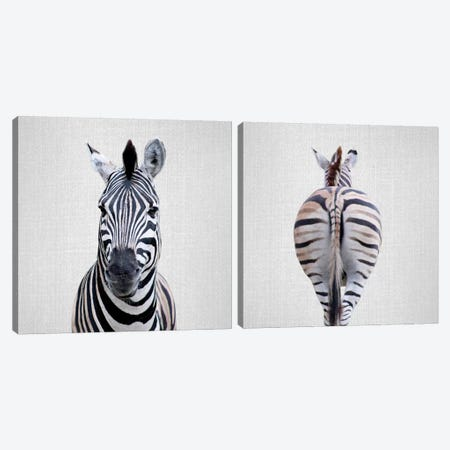 Zebra Diptych Canvas Print Set #GAD2HSET003} by Gal Design Canvas Art