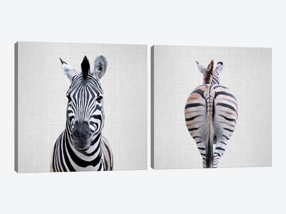 Zebra Diptych by Gal Design 2-piece Canvas Print