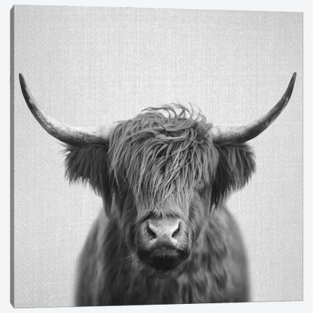 Highland Cow In Black & White Canvas Print #GAD73} by Gal Design Canvas Print