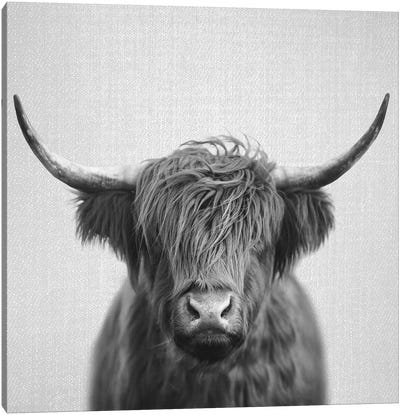 Highland Cow In Black & White Canvas Art Print