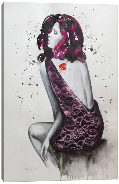 Mom Tattoo Fucshia Canvas Art Print