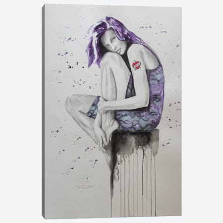 Mom Tattoo Purple Canvas Print #GAM42} by Tara Gamel Canvas Art Print