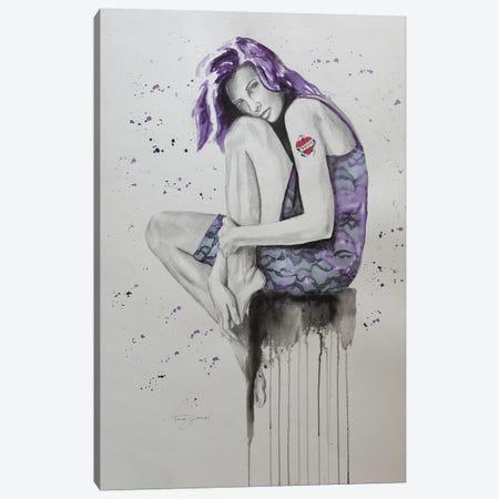 Mom Tattoo Purple Canvas Print #GAM42} by Tara Gamel Canvas Art Print