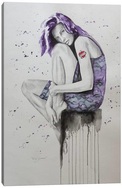 Mom Tattoo Purple Canvas Art Print