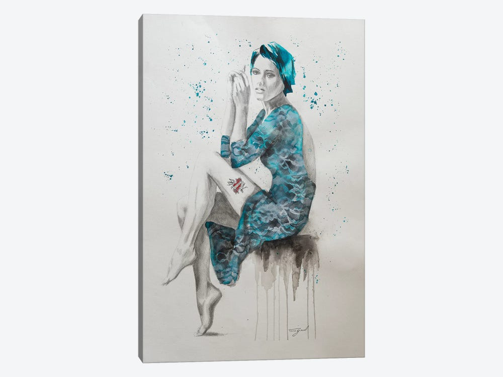 Mom Tattoo Teal by Tara Gamel 1-piece Canvas Print