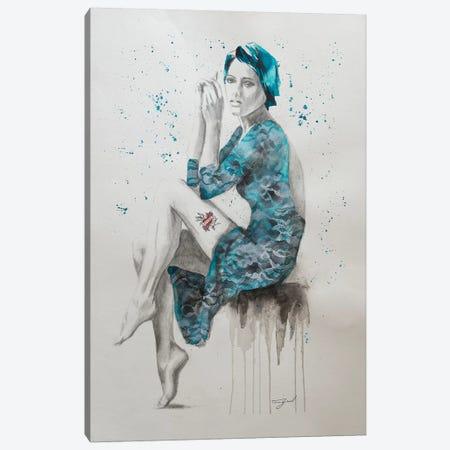 Mom Tattoo Teal Canvas Print #GAM43} by Tara Gamel Canvas Print