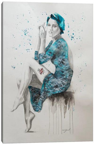 Mom Tattoo Teal Canvas Art Print