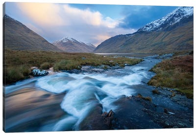Winter Sunset, Glencullen River, County Mayo, Connacht Province, Republic Of Ireland Canvas Art Print