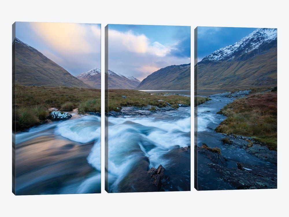 Winter Sunset, Glencullen River, County Mayo, Connacht Province, Republic Of Ireland by Gareth McCormack 3-piece Canvas Wall Art
