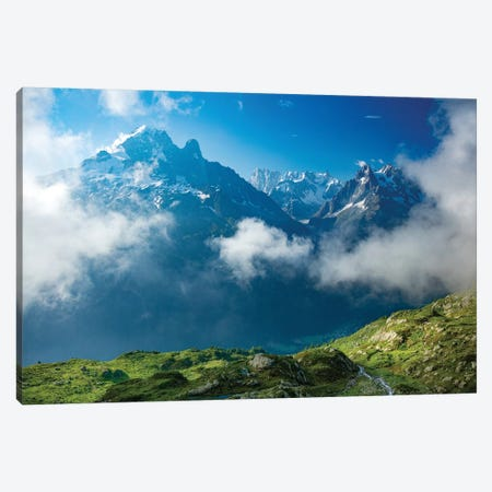 Aiguille Verte Rises Above The Clouds Of The Chamonix Valley, French Alps, France Canvas Print #GAR121} by Gareth McCormack Canvas Art