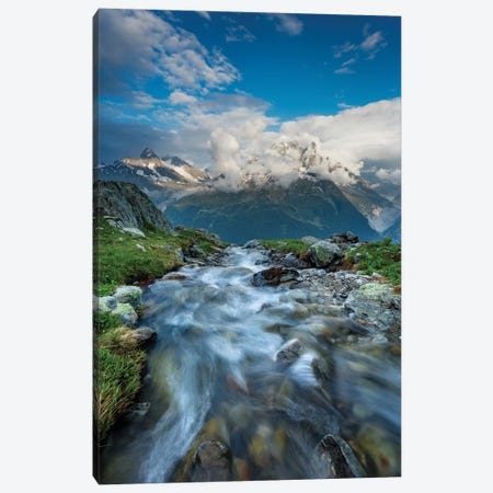 Alpine Stream Beneath The Aiguille Verte I, Chamonix Valley, French Alps, France Canvas Print #GAR122} by Gareth McCormack Canvas Art