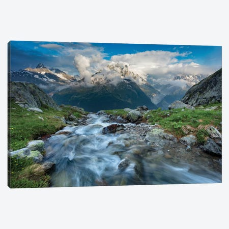 Alpine Stream Beneath The Aiguille Verte II, Chamonix Valley, French Alps, France Canvas Print #GAR123} by Gareth McCormack Canvas Artwork