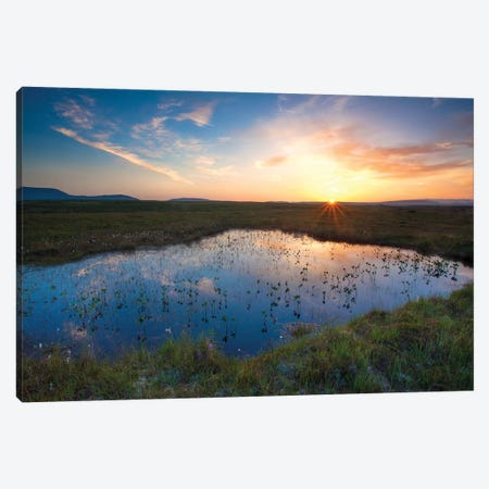 Bog Pool Sunset Beneath The Nephin Beg Mountains, Ballycroy National Park, County Mayo, Ireland Canvas Print #GAR128} by Gareth McCormack Canvas Art