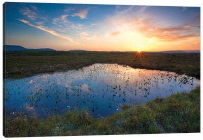 Bog Pool Sunset Beneath The Nephin Beg Mountains, Ballycroy National Park, County Mayo, Ireland Canvas Art Print
