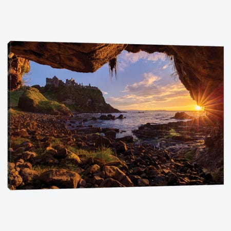 Cave Frames Sunset At Dunluce Castle, Causeway Coast, County Antrim, Northern Ireland 3-Piece Canvas #GAR131} by Gareth McCormack Art Print