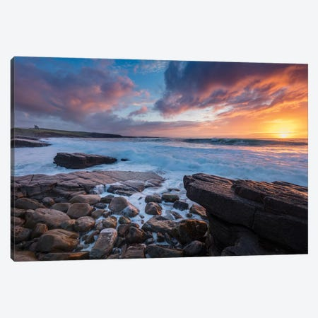 Coastal Sunset Over Classie Bawn Castle, Mullaghmore, County Sligo, Ireland Canvas Print #GAR134} by Gareth McCormack Canvas Artwork