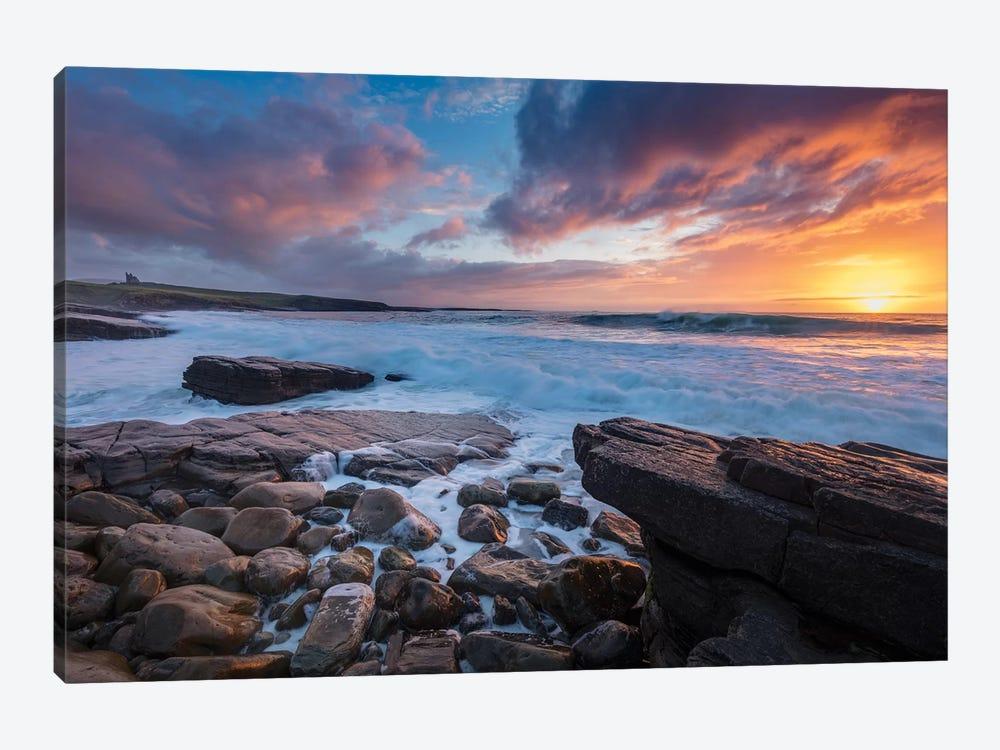 Coastal Sunset Over Classie Bawn Castle, Mullaghmore, County Sligo, Ireland by Gareth McCormack 1-piece Canvas Art