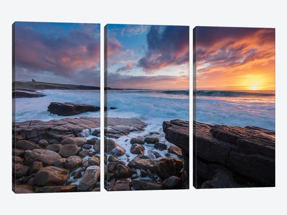 Coastal Sunset Over Classie Bawn Castle, Mullaghmore, County Sligo, Ireland by Gareth McCormack 3-piece Canvas Artwork