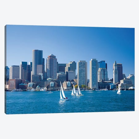 Downtown Boston From The Harbour, Massachusetts, USA Canvas Print #GAR135} by Gareth McCormack Canvas Artwork
