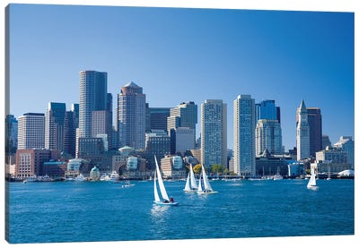 Downtown Boston From The Harbour, Massachusetts, USA Canvas Art Print