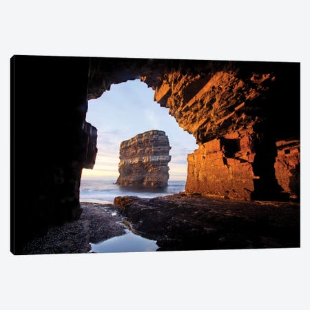 Dun Briste From Downpatrick Head Sea Cave I, County Mayo, Ireland Canvas Print #GAR136} by Gareth McCormack Canvas Art