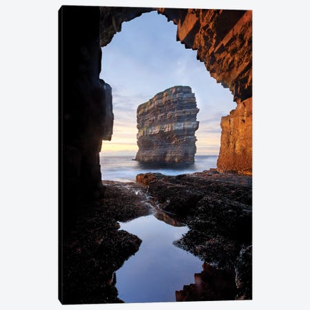 Dun Briste From Downpatrick Head Sea Cave II, County Mayo, Ireland Canvas Print #GAR137} by Gareth McCormack Canvas Wall Art