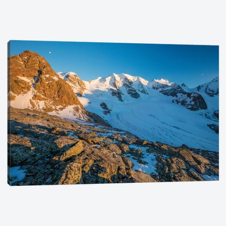 Evening Light On Piz Trovat And Piz Palu II, Berniner Alps, Graubunden, Switzerland Canvas Print #GAR141} by Gareth McCormack Canvas Artwork
