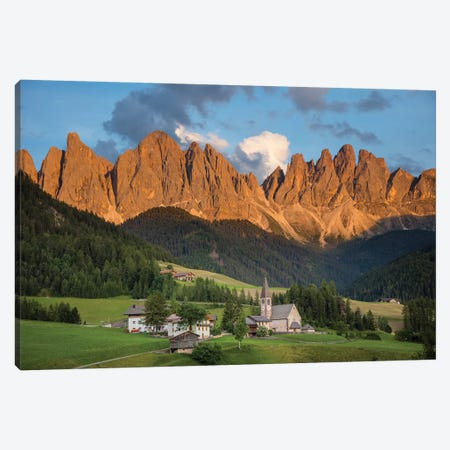 Evening Light On The Dolomites Above St Magdalena, Val Di Funes, South Tyrol, Italy Canvas Print #GAR142} by Gareth McCormack Canvas Art