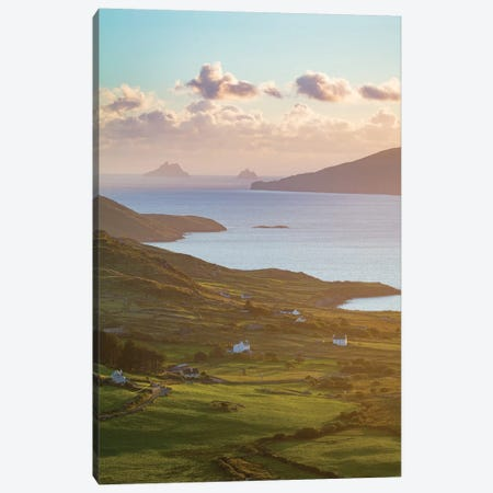 Evening Light Over Fields And Skellig Islands From Ballinskelligs Bay I, County Kerry, Ireland Canvas Print #GAR143} by Gareth McCormack Canvas Wall Art