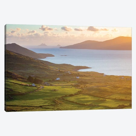 Evening Light Over Fields And Skellig Islands From Ballinskelligs Bay II, County Kerry, Ireland Canvas Print #GAR144} by Gareth McCormack Canvas Print