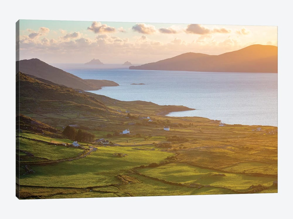 Evening Light Over Fields And Skellig Islands From Ballinskelligs Bay II, County Kerry, Ireland by Gareth McCormack 1-piece Art Print