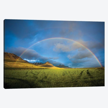 Evening Rainbow Over The Heradsvotn Valley, Iceland Canvas Print #GAR148} by Gareth McCormack Canvas Wall Art