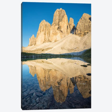 Evening Reflection Of Tre Cime Di Lavaredo, Sexten Dolomites, Italy Canvas Print #GAR149} by Gareth McCormack Canvas Art