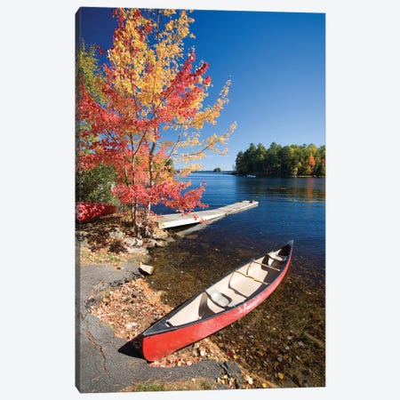 Fall Colors And Canoe, Maine, New England, USA Canvas Print #GAR151} by Gareth McCormack Art Print