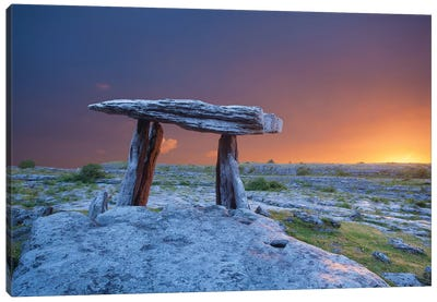Fiery Dawn At Poulnabrone Dolmen, The Burren, County Clare, Ireland Canvas Art Print