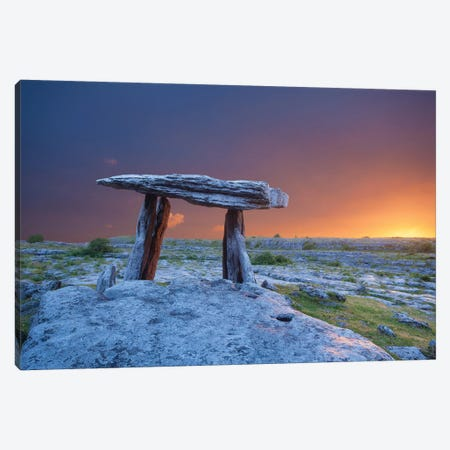 Fiery Dawn At Poulnabrone Dolmen, The Burren, County Clare, Ireland Canvas Print #GAR152} by Gareth McCormack Art Print