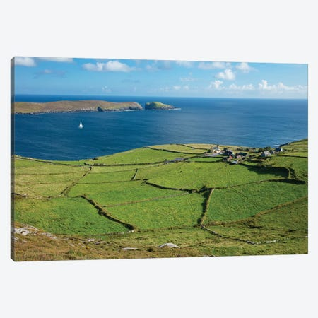 Green Fields Surround The Hamlet Of Ballynacallagh, Dursey Island, Beara Peninsula, County Cork, Ireland Canvas Print #GAR153} by Gareth McCormack Canvas Print