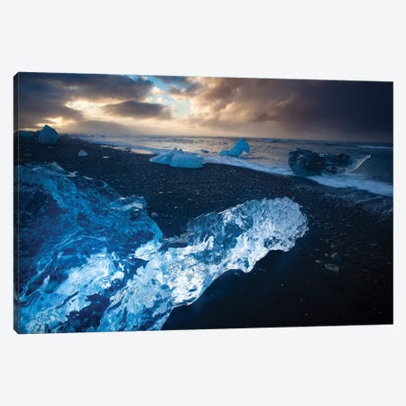 Icebergs On The Black Sand Beach Beneath Jokulsarlon, Iceland Canvas Print #GAR155} by Gareth McCormack Canvas Artwork