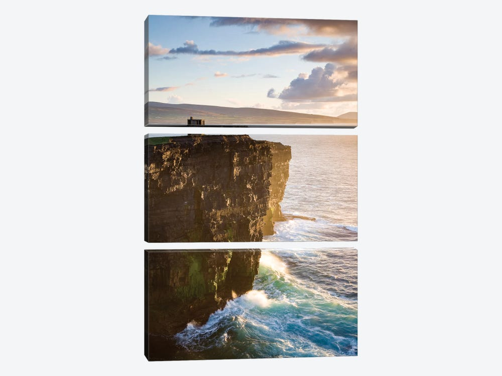 Coastal Landscape, Downpatrick Head, County Mayo, Connacht Province, Republic Of Ireland by Gareth McCormack 3-piece Canvas Print