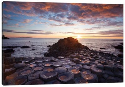 Mid-Summer Sunset I, Giant's Causeway, Co Antrim, Northern Ireland Canvas Art Print