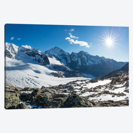 Piz Palu And Piz Bernina From Diavolezza, Berniner Alps, Graubunden, Switzerland Canvas Print #GAR169} by Gareth McCormack Canvas Artwork