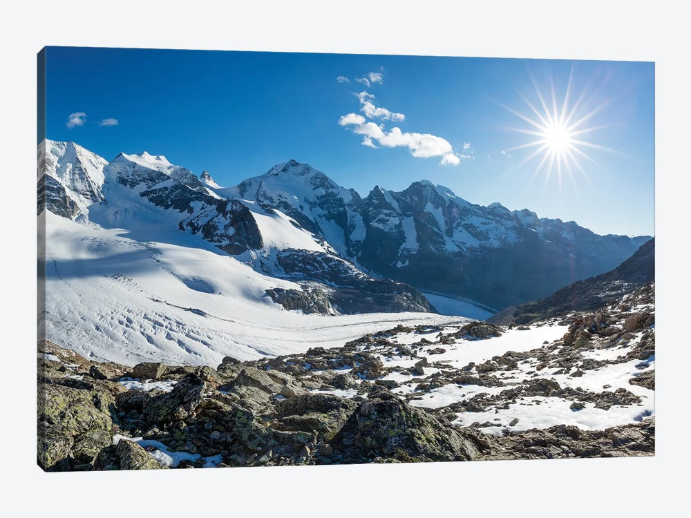 Piz Palu And Piz Bernina From Diavolezza, Berniner Alps, Graubunden, Switzerland by Gareth McCormack 1-piece Canvas Art