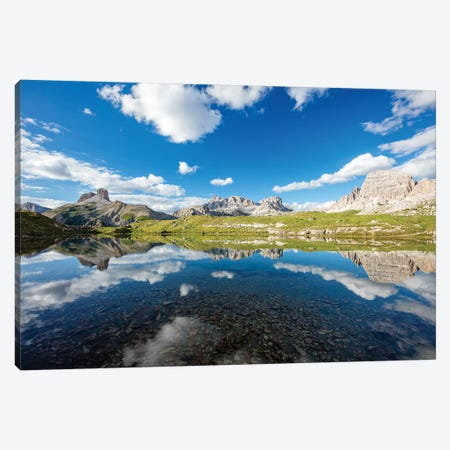 Reflection Of Croda Dei Rondoi And Torre Di Toblin, Sexten Dolomites, Italy Canvas Print #GAR171} by Gareth McCormack Canvas Art Print