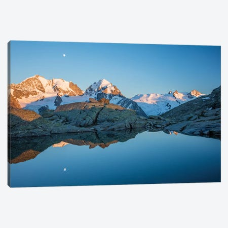 Reflection Of Moonrise Over Piz Bernina And Piz Rosbeg, Fuorcla Surlej, Berniner Alps, Graubunden, Switzerland Canvas Print #GAR172} by Gareth McCormack Canvas Print