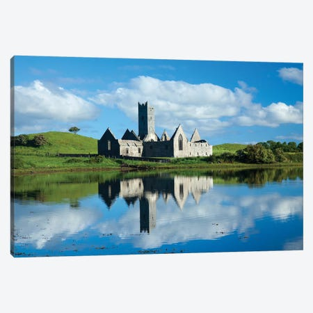 Reflection Of Rosserk Abbey In The River Moy I, County Mayo, Ireland Canvas Print #GAR173} by Gareth McCormack Art Print