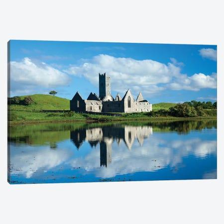 Reflection Of Rosserk Abbey In The River Moy I, County Mayo, Ireland Canvas Print #GAR173} by Gareth McCormack Art Print