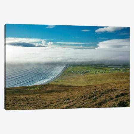 Sea Fog Rolling In Over Dookinelly And Keel, Achill Island, County Mayo, Ireland Canvas Print #GAR178} by Gareth McCormack Canvas Art Print